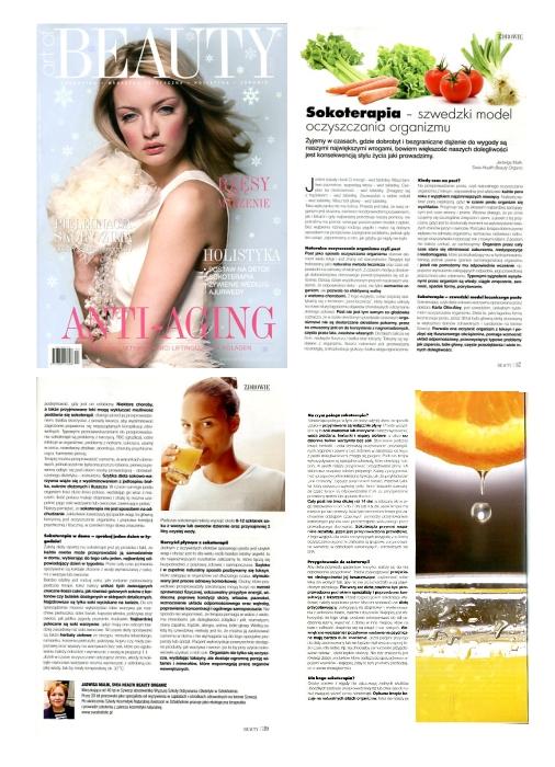 """""""Sokoterapia - szwedzki model oczyszczania organizmu"""", Art of Beauty, grudzień 2013"""