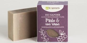 Naturalne antyoksydacyjne Mydło roślinne bogate w witaminy Mirt i Czerwone winogrona La Saponaria