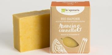 Naturalne mydło roślinne z witaminą E i beta-karotenem Pomarańcza i Cynamon La Saponaria