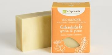 Naturalne nawilżające Mydło roślinne o działaniu kojącym Nagietek i Kiełki pszenicy La Saponaria