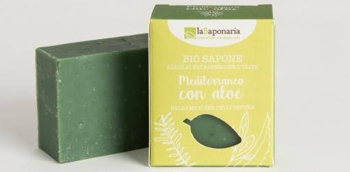 Naturalne balsamiczne mydło Śródziemnomorskie z Aloesem i pokrzywą do skóry zaniczeyszczonej i podrażnionej La Saponaria 100gr